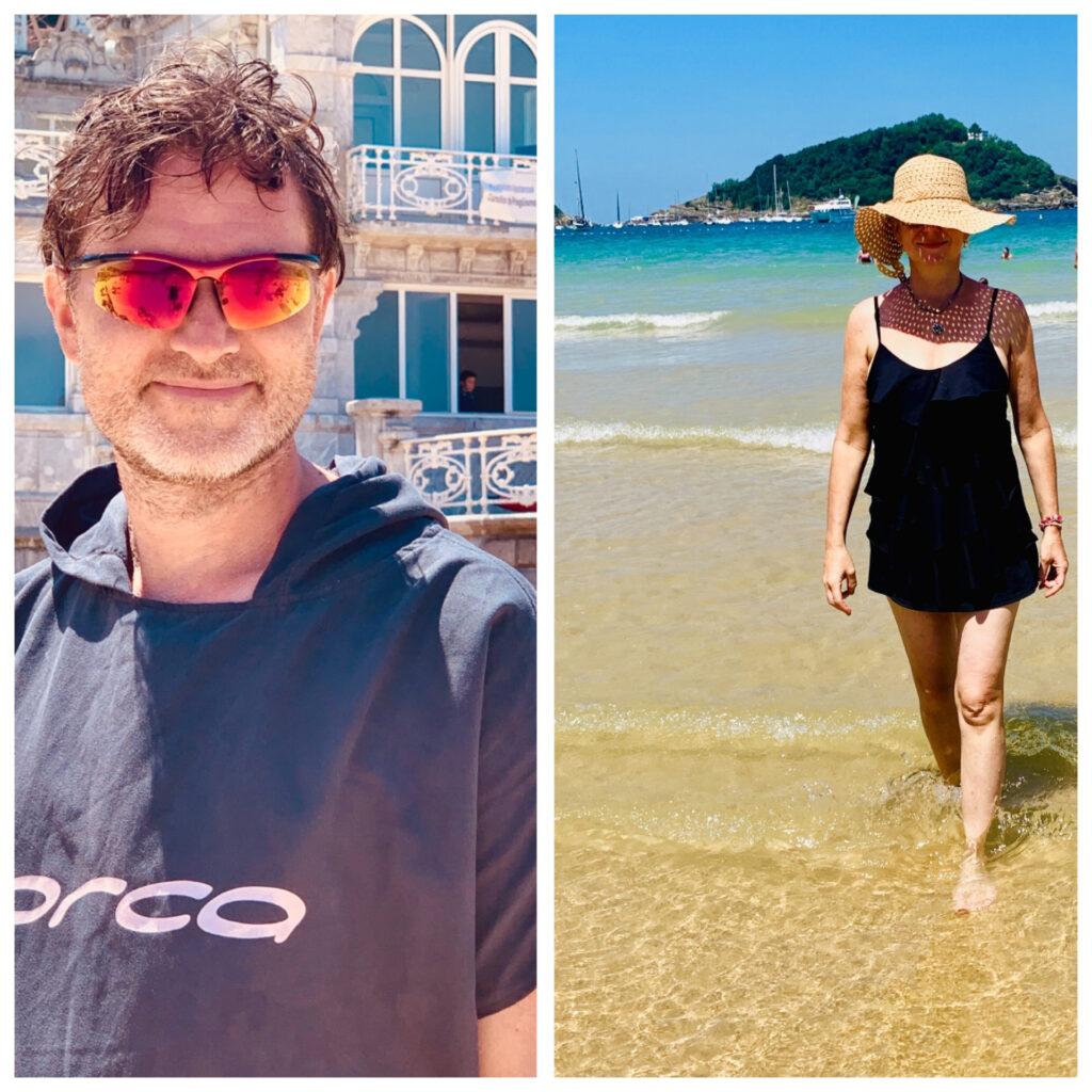 Olika stil på stranden från förra årets tågluff;-)Maken som modern triatlet och jag som en liten spansk strandtant.